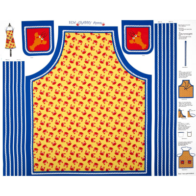 Seaside Holiday Sew Crabby Apron Yellow/Blue