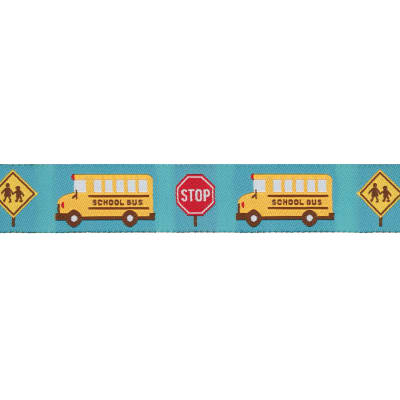 Jessica Jones Yellow School Bus Woven Ribbon Turquoise