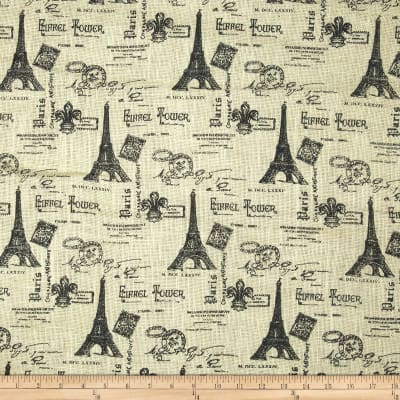 54'' Printed Burlap Eiffel Tower Black
