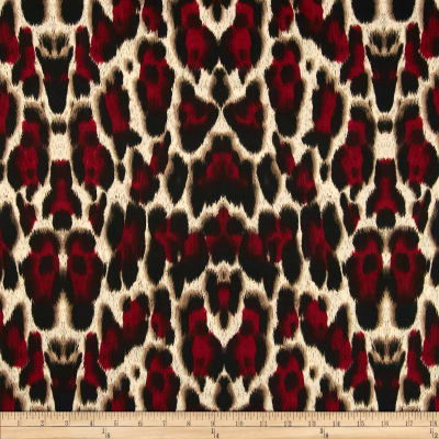 Venice Stretch ITY Jersey Knit Cheetah Tan/Red/Black