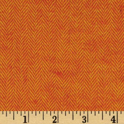 Primo Plaids Harvest Flannel Herringbone Stripe Orange