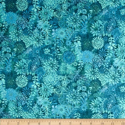 Packed Floral Tonal Teal