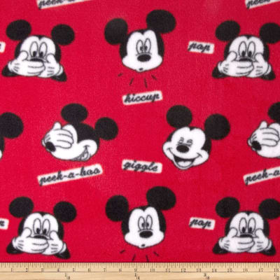 Disney Mickey Faces Fleece Red