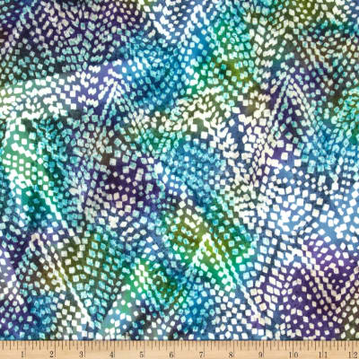 Indian Batik Flannel Chevron Aqua/Purple