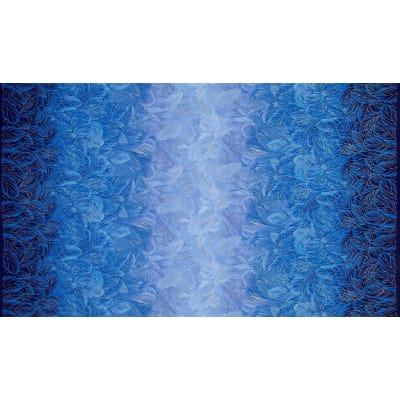Timeless Treasures Blue Bird Metallic Ombre Feathers Blue