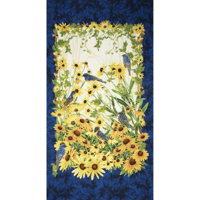 Timeless Treasures Blue Bird Panel Navy