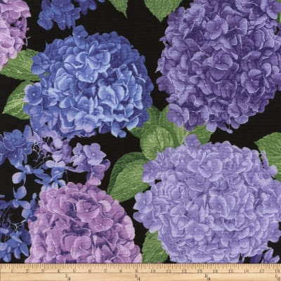 Timeless Treasures Large Hydrangea Toss Black