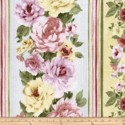 Timeless Treasures Belle Floral Border Stripe Multi