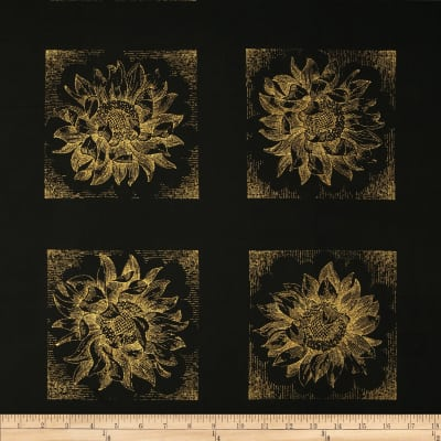 Kanvas Sunflower Fields Metallic Etched Sunflower Black