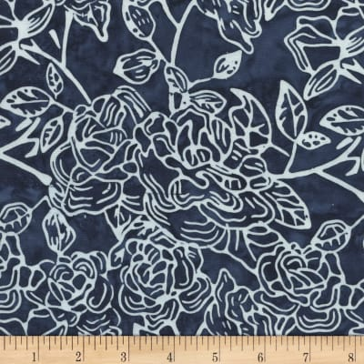 Timeless Treasures Tonga Batiks Breeze Graffti Floral Cadet