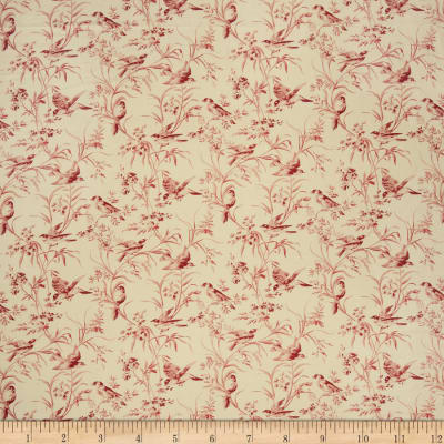 French General Bird Toile Blend Rouge