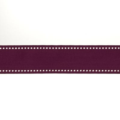 "May Arts 1 1/2"" Grosgrain Stitched Edge Ribbon Spool Burgundy/Ivory"