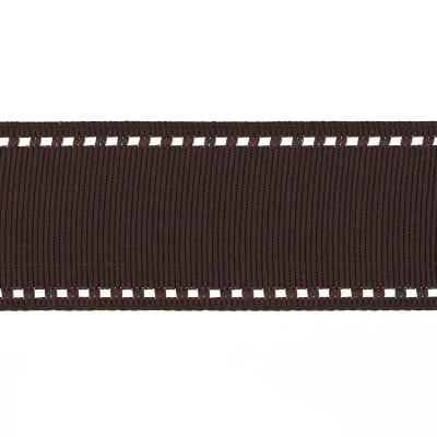 """May Arts 1 1/2"""" Grosgrain Stitched Edge Ribbon Spool Brown/Ivory"""