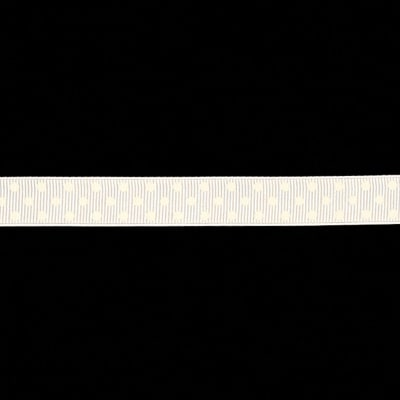 "May Arts 5/8"" Grosgrain Dots Ribbon Spool White/White"