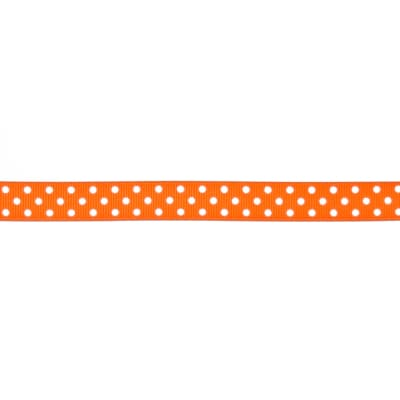 "May Arts 5/8"" Grosgrain Dots Ribbon Spool Orange/White"