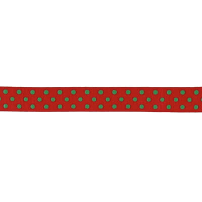 "May Arts 5/8"" Grosgrain Dots Ribbon Spool Red/Green"