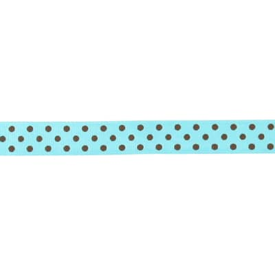 "May Arts 5/8"" Grosgrain Dots Ribbon Spool Turquoise/Brown"