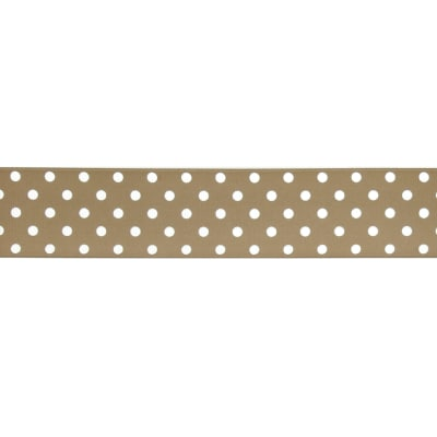 "May Arts 1 1/2"" Grosgrain Dots Ribbon Spool Olive/White"
