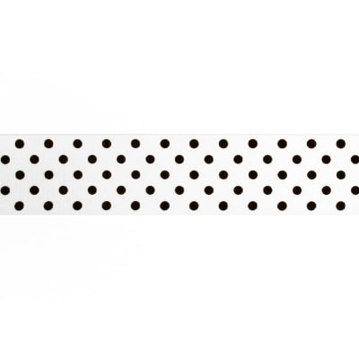 "May Arts 1 1/2"" Grosgrain Dots Ribbon Spool White/Black"