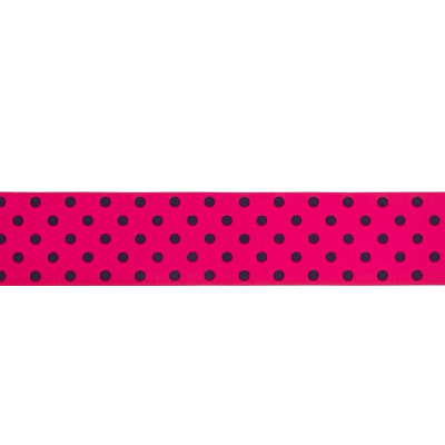 "May Arts 1 1/2"" Grosgrain Dots Ribbon Spool Fuchsia/Black"