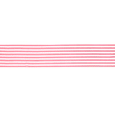 "May Arts 1 1/2""  Grosgrain Stripes Ribbon Spool Pink/White"