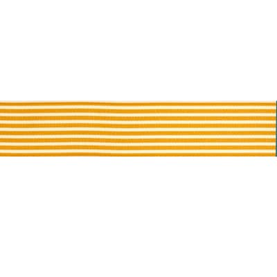 "May Arts 1 1/2""  Grosgrain Stripes Ribbon Spool Royal Butterscotch/Ivory"