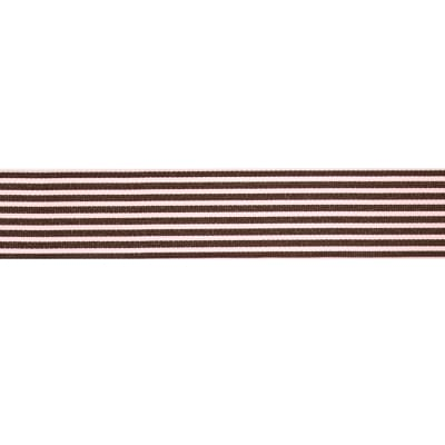 "May Arts 1 1/2""  Grosgrain Stripes Ribbon Spool Pink/Brown"