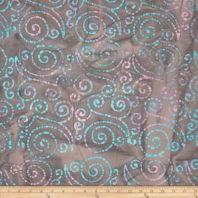 Indian Batik Scroll Taupe/Pastel/Multi