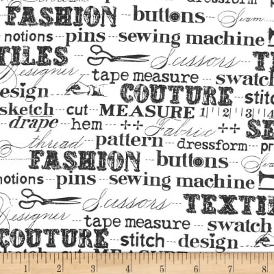 Sewing Studio Sewing Terms White