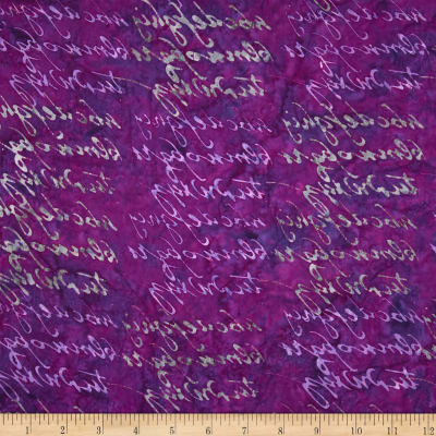 Lonni Rossi Batiks Handwriting Purple