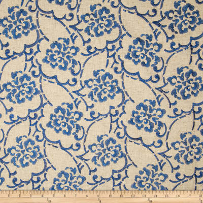 Duralee Embroidered Song Blend Natural/Blue