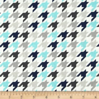Riley Blake Small Houndstooth Blue/Gray