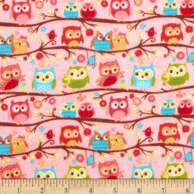 Riley Blake Happy Flappers Flannel Owls Pink