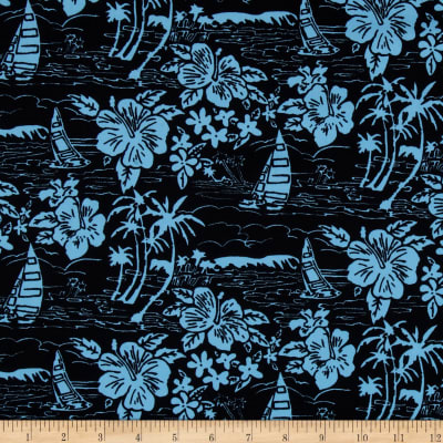 Hoffman Tropicals Sailboats and Flowers Black