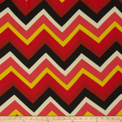 Chiffon Large Multi Stripe Chevron Black/Coral/Yellow
