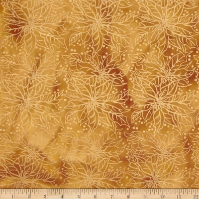 Island Batik Holiday Poinsettia Metallic Gold