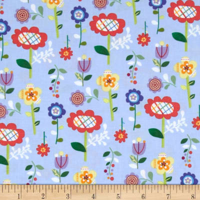 Mother Goose Tales Funky Flowers Blue