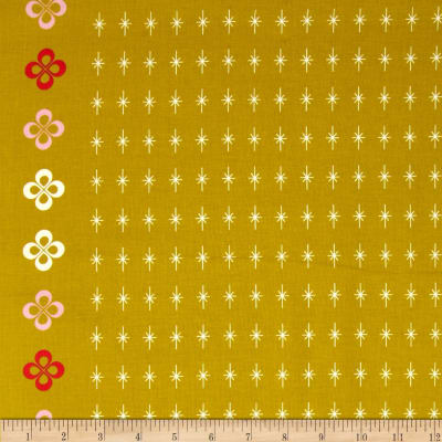 Cotton + Steel Mustang Single-Border Stars Gold