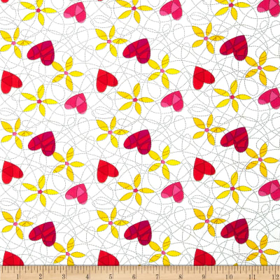 Breezy Blooms Scribble Heart Flower White/Multi