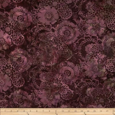 Bali Batiks Scalloped Floral Burgundy
