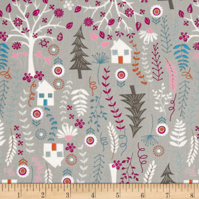 Timeless Treasures Forest Frolic Houses Taupe