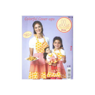Ellie Mae Designs Colorful Cover-Ups Made to Match Misses, Girls & Doll Apron Pattern