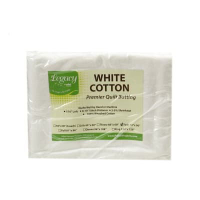 "Pellon White Cotton Batting Twin 72"" X 96"""