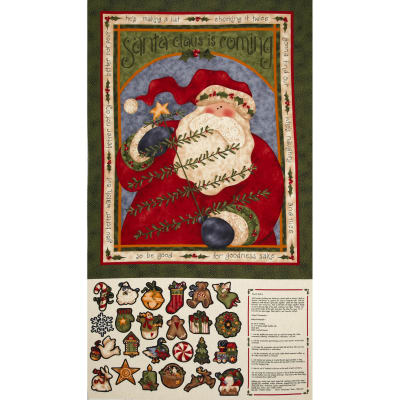 Santa's Coming Advent Panel Red