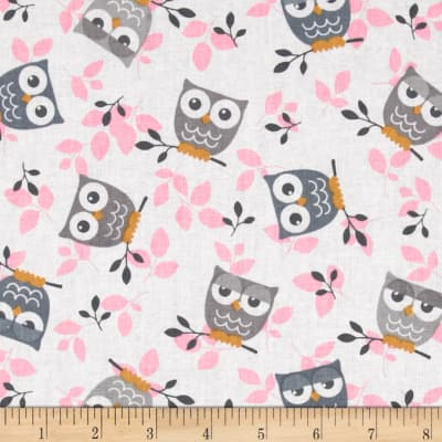 Tossed Owls White/Gray/Pink