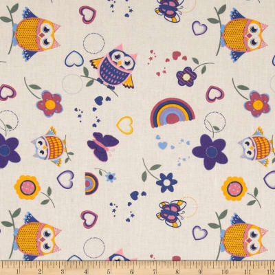 Tossed Owls & Butterflies Cream/Multi