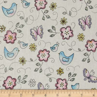 Birds & Butterflies White/Multi