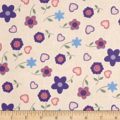 Tossed Daisies Peach/Purple