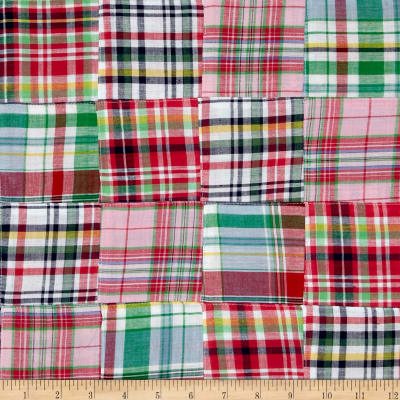 Madras Plaid Patchwork Red/Green/Navy