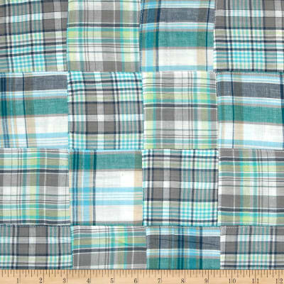 Madras Plaid Patchwork Teal/Grey/White